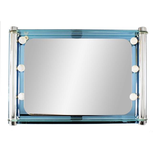 Italian 1940s Italian Mid-Century Blue Glass Arte Wall Mirror For Sale - Image 3 of 3