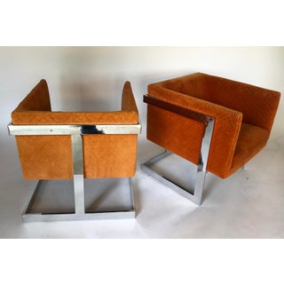 1970s Mid-Century Modern Milo Baughman T-Back Chrome Lounge Chairs - a Pair Preview