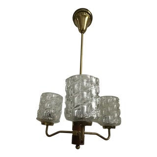 Mid 20th Century Modern Three Glass Globe Chandelier For Sale
