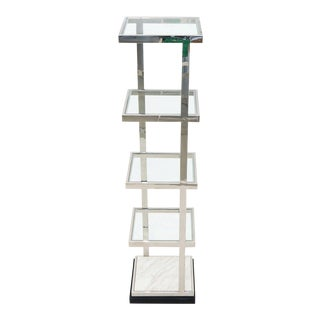 Fine Polished Stainless Steel Compact Small Tower Shape Étagère Shelf Marble For Sale