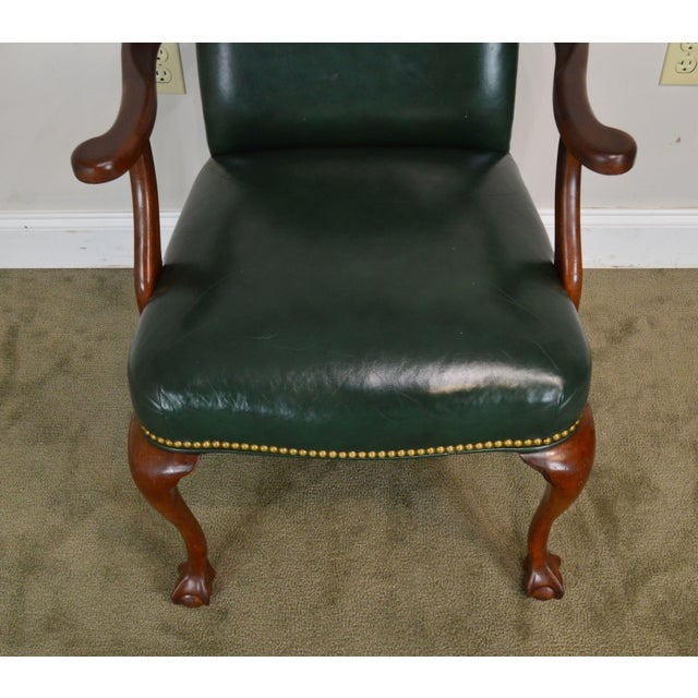 South Mark Green Leather Chippendale Style Ball & Claw Pair Armchairs (A) For Sale - Image 10 of 12