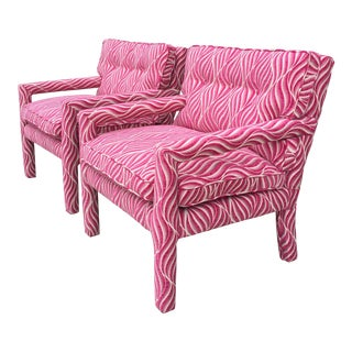 Fuschia Pink & White Animal Print Parsons Chairs - A Pair For Sale
