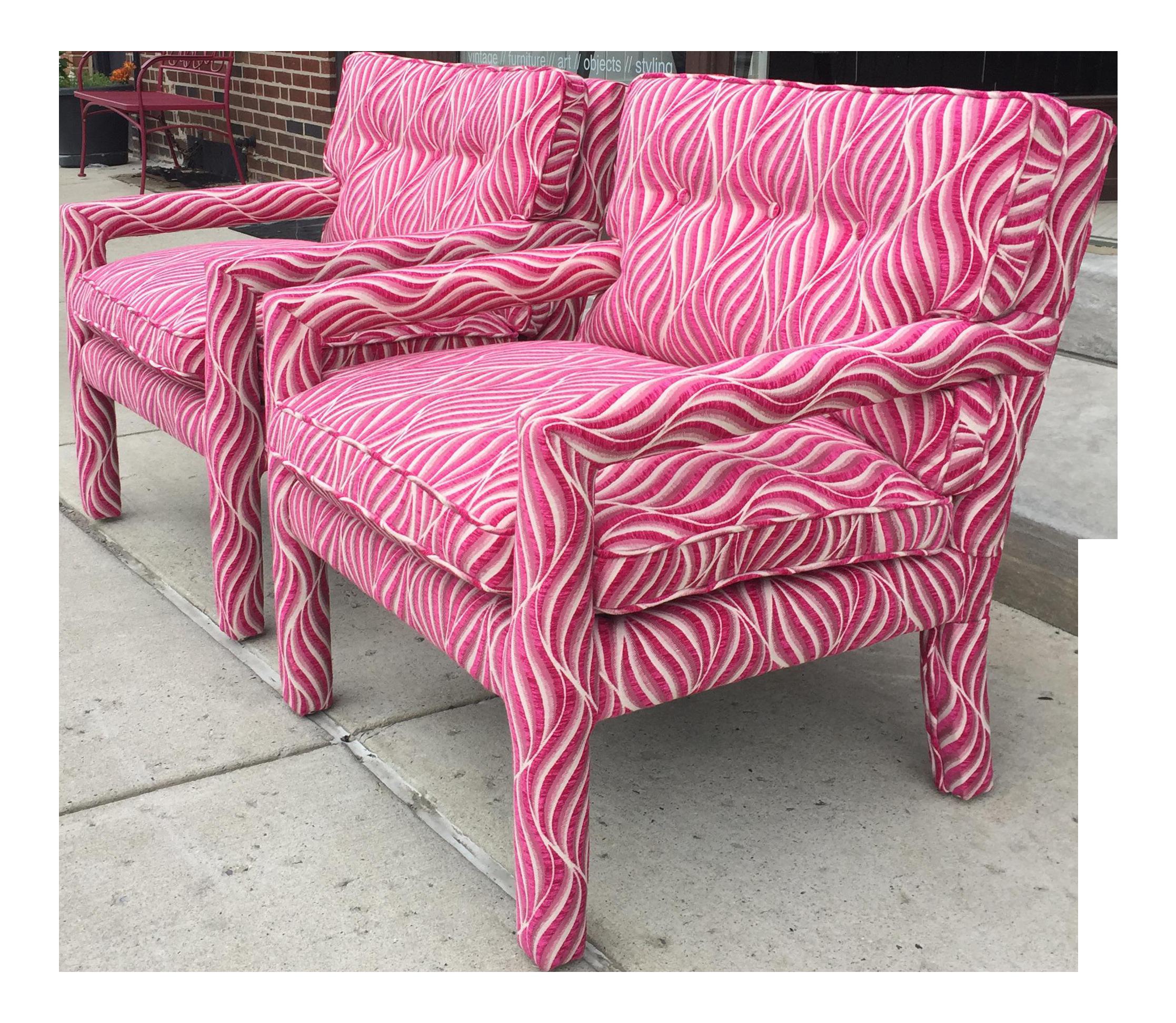 Fuschia Pink U0026 White Animal Print Parsons Chairs   A Pair