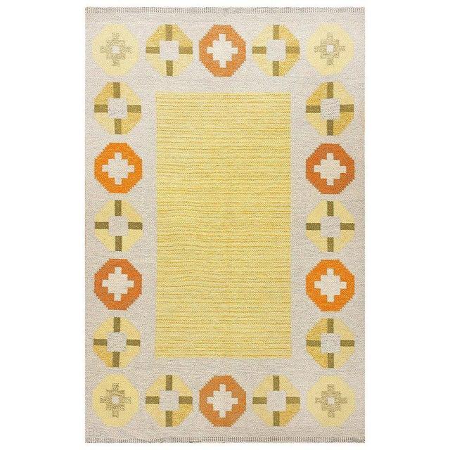 Textile Vintage Swedish Kilim Rug by Barbro Spinchorn - 5′2″ × 8′ For Sale - Image 7 of 7