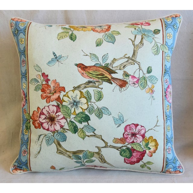 "Early 21st Century English Chinoiserie Floral & Birds Feather/Down Pillows 24"" Square - Pair For Sale - Image 5 of 12"