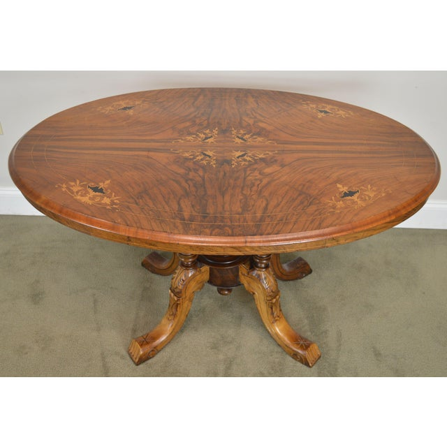 Wood Antique Burl Walnut Victorian Inlaid Oval Parlor Table For Sale - Image 7 of 13