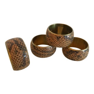 Snake Skin and Brass Napkin Rings - Set of 4 For Sale