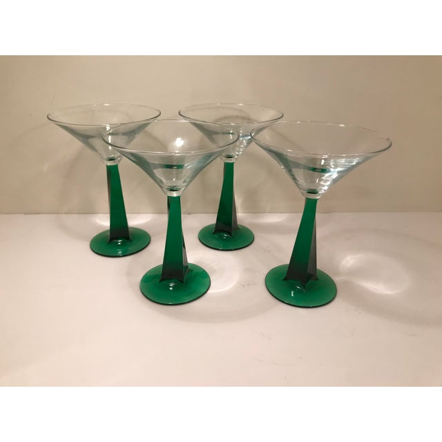 1970s 1970s Mid-Century Modern Green Stem Martini Glasses - Set of 4 For Sale - Image 5 of 6