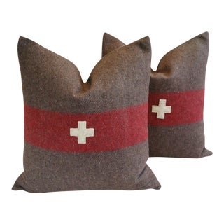 """22"""" Custom Tailored Swiss Appliqué Cross Wool Feather/Down Pillows- Pair For Sale"""