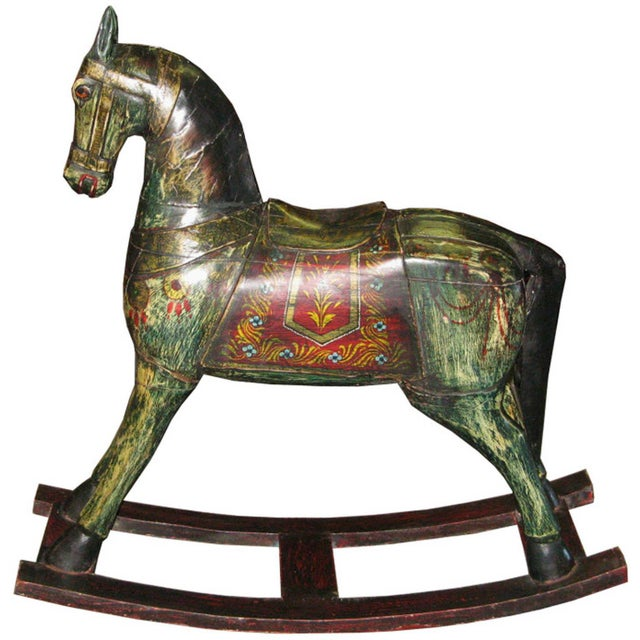 Wood Vintage Painted Rocking Horse For Sale - Image 7 of 7