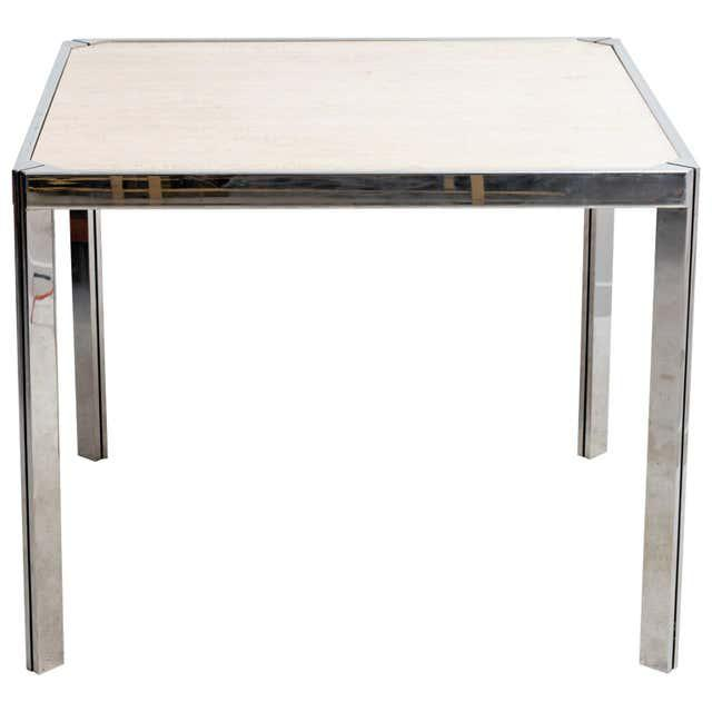 20th Century Travertine and Nickel Dining/Games Table For Sale - Image 10 of 10