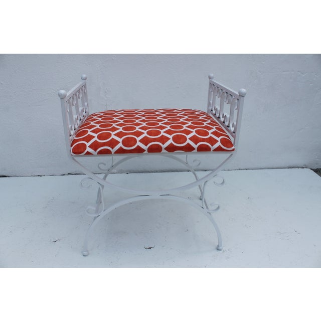 Hollywood Regency Arthur Umanoff The Granada Collections Iron Bench For Sale - Image 3 of 8
