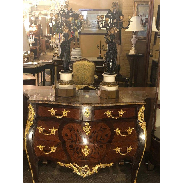 French 19th Century French Bombe Louis XV Style Marble Top Commode With Floral Inlays For Sale - Image 3 of 5