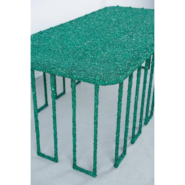 Contemporary Hand Made Coffee Table of Crushed Malachite of the Congo, by Samuel Amoia For Sale - Image 3 of 10