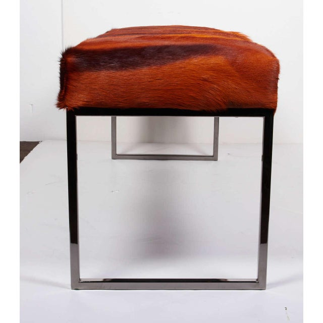 Animal Skin AFRICAN SPRINGBOK FUR BENCH IN VIBRANT BURNT-ORANGE For Sale - Image 7 of 11