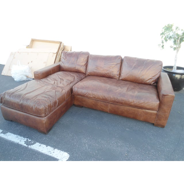 Animal Skin Restoration Hardware Maxwell Petite Italian Brompton Sectional For Sale - Image 7 of 7