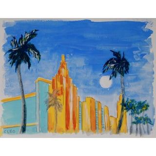 Miami Beach Landscape Art Deco Painting by Cleo Plowden For Sale