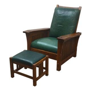 Mission Stickley Oak Morris Chair W/ Ottoman - 2 Pieces For Sale