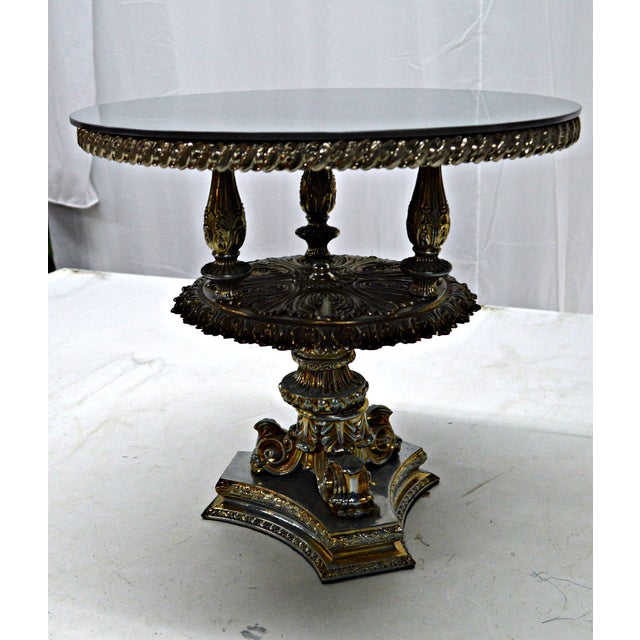 Early 20th Century Gold Pewter Metal Cake Stand or Auxiliary Table For Sale - Image 5 of 8