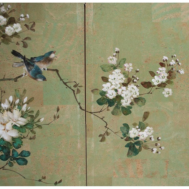 Gouache Early 20th Century Japanese Four Panel Byobu Screen For Sale - Image 7 of 13