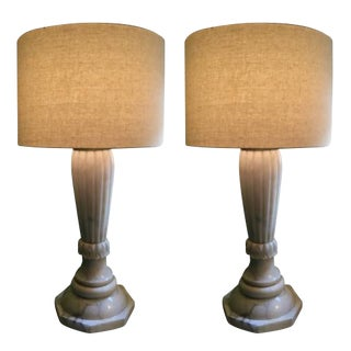 Antique Alabaster Lamps - A Pair For Sale