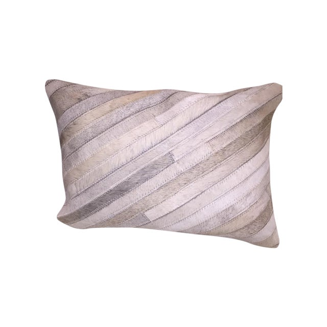 White Cowhide Bolster Pillows - Image 1 of 5