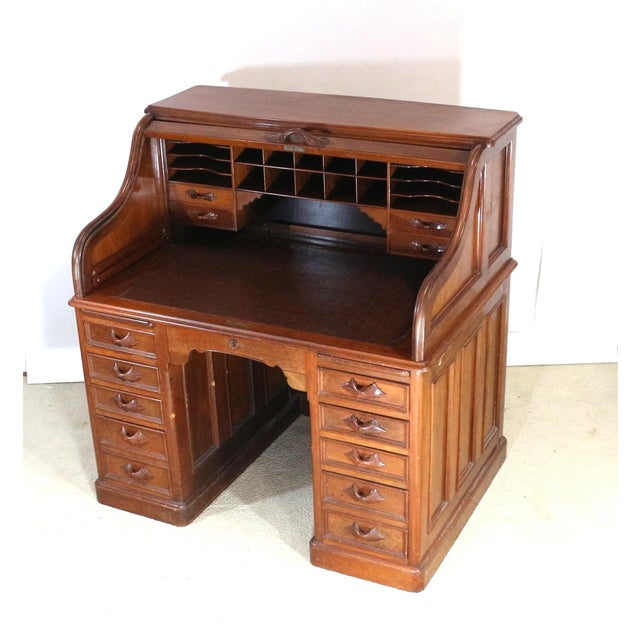 1850s Antique Walnut Bankers Desk - Image 2 of 11