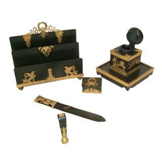 19th Century French Empire Bronze Desk Set - 5 Pieces For Sale