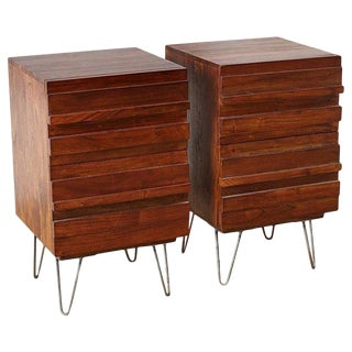 American Modern Style Mahogany Nightstands on Hairpin Legs For Sale