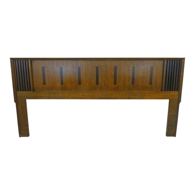 Vintage Lane King Size Ribbed Walnut and Rosewood Headboard Hard to Find - Image 1 of 10