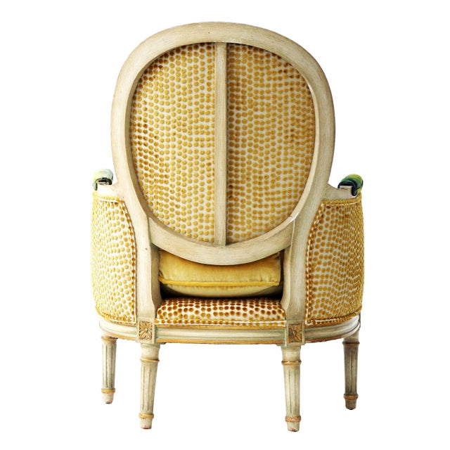 Abstract Upholstered French Bergere Armchair For Sale - Image 3 of 4