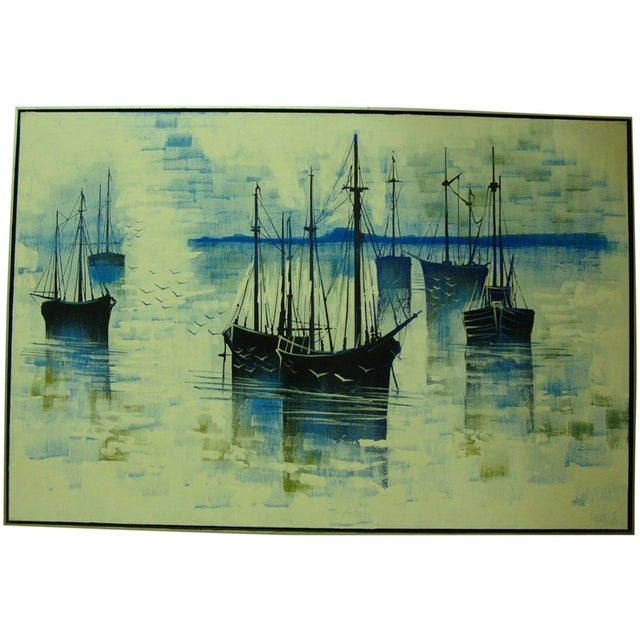 1970s Large Seascape Ships Oil on Canvas Painting - Image 1 of 8