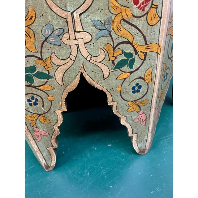 Olive 1970s Moorish Octagonal Hand Painted Accent Table For Sale - Image 8 of 9