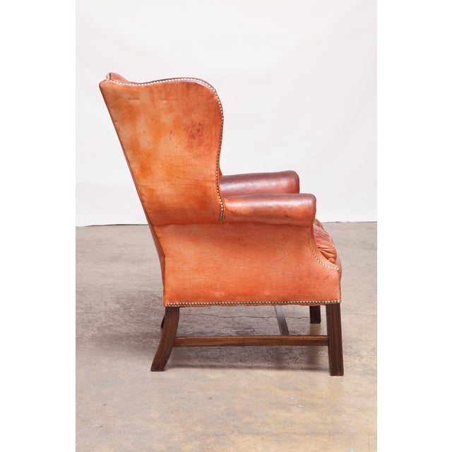 English Cigar Leather Tufted Wing Chairs - Pair - Image 3 of 10