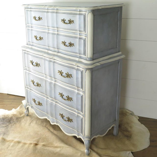 Blue French Provincial Painted Highboy For Sale - Image 8 of 10
