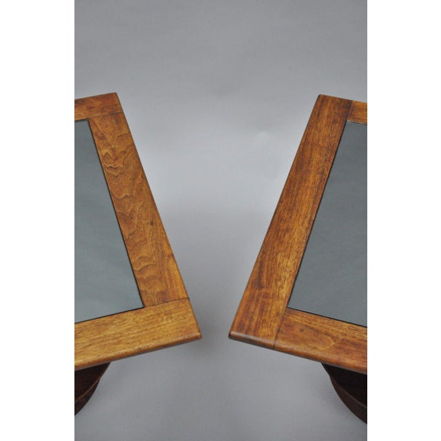 Pair of Vintage Mid Century Modern Cork Sculpted Walnut Glass Square Low Side Tables For Sale In Philadelphia - Image 6 of 11