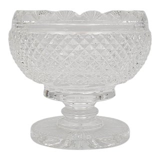 Antique Georgian Cut Footed Pedestal Crystal Compote Bowl For Sale