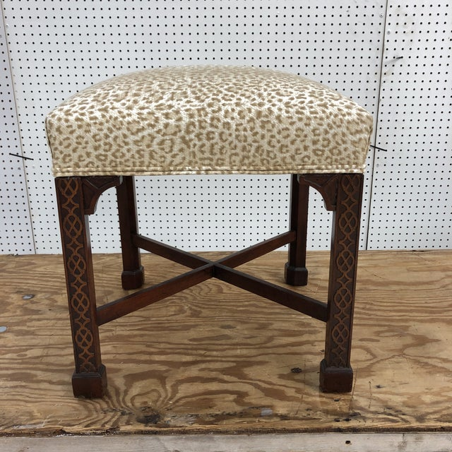 Chippendale Classic Chippendale Style Square Stool For Sale - Image 3 of 7