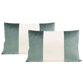 "12""x18"" Turkish Blue Velvet & Alabaster Silk Panel Lumbar Pillows - a Pair For Sale"