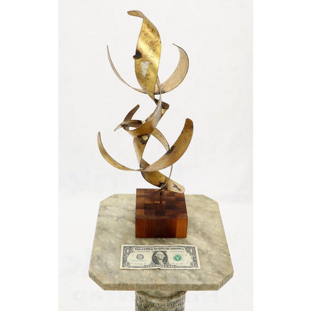 William Bowie Table Top Metal Gold Leaf Sculpture Solid Wood Block Base For Sale - Image 6 of 13
