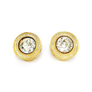 Textured Round Crystal Earrings by Kenneth Jay Lane Preview
