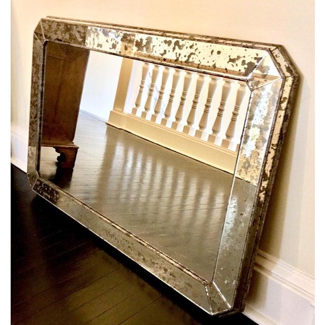 1930s 1930s Art Deco Silver Leaf Eglomisé Mirror For Sale - Image 5 of 6