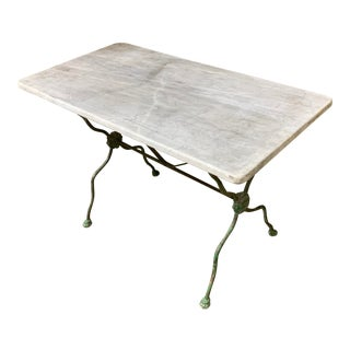 Antique French Garden Table With Marble Top For Sale