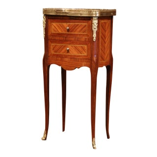 19th Century French Marquetry and Bronze Walnut Nightstand With Marble Top For Sale