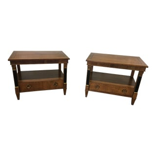 Baker Furniture Regency Empire Style Cherry End Tables - a Pair