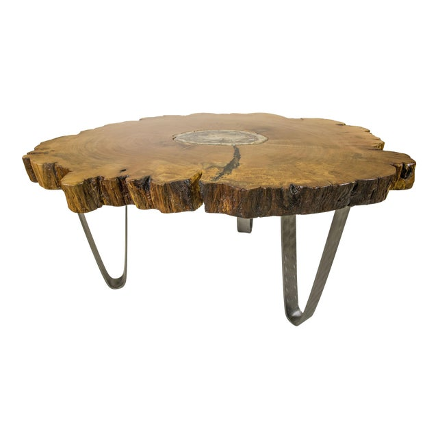 Petrified Wood Inlay Sycamore Table For Sale