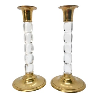 Mid-Century Regency Stacking Lucite & Brass Candlesticks -a Pair For Sale