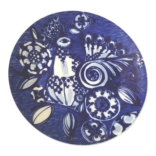 Bjorn Wiinblad for Rosenthal Mid Century Blue and White Porcelain Wall Plate or Platter For Sale