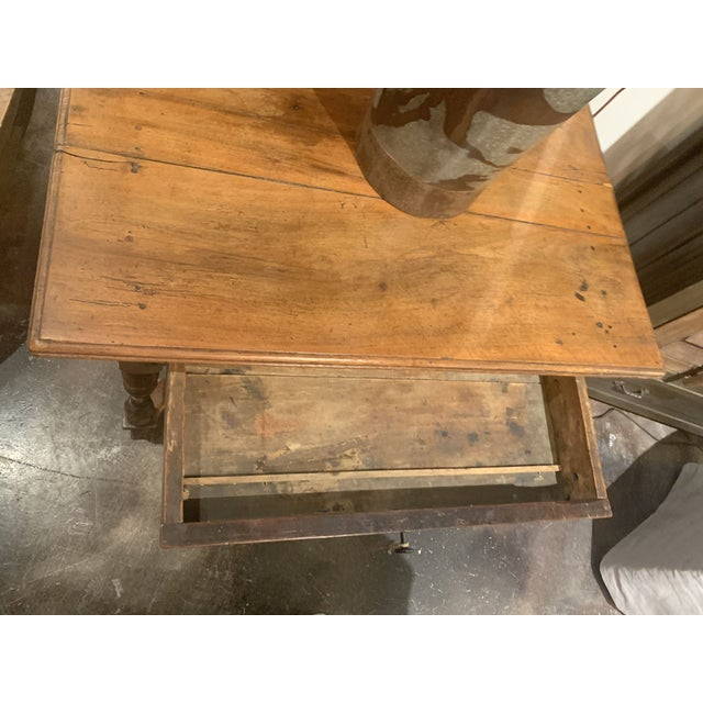 Metal 18th Century French Henri II Style Walnut Writing Desk For Sale - Image 7 of 12