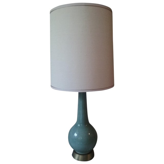 Mid-Century Ceramic Glazed Lamp with 3-Way Switch - Image 1 of 6